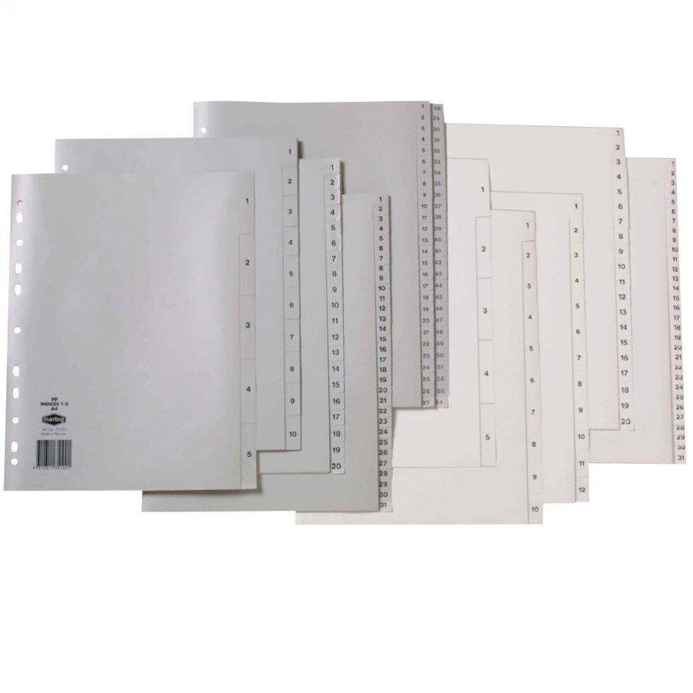 MARBIG NUMERICAL INDICES A4 PP 1-100 Grey