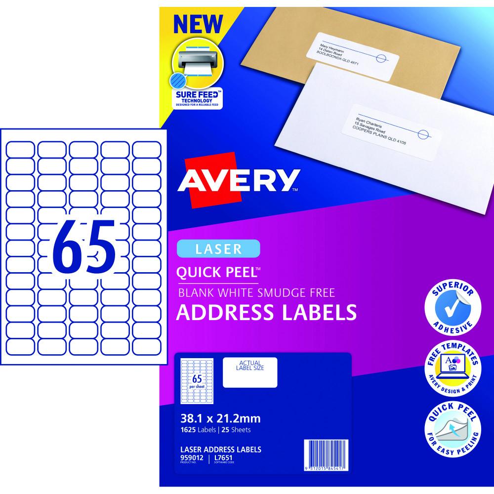 AVERY L7651 MAILING LABELS Laser 38.1x21.2mm Mini Address