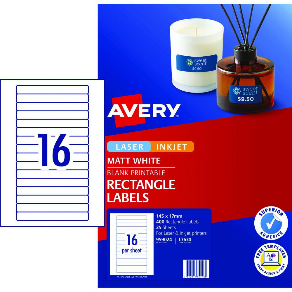AVERY L7674 MEDIA LASER LABELS Video Spine 16/Sht 145x17mm