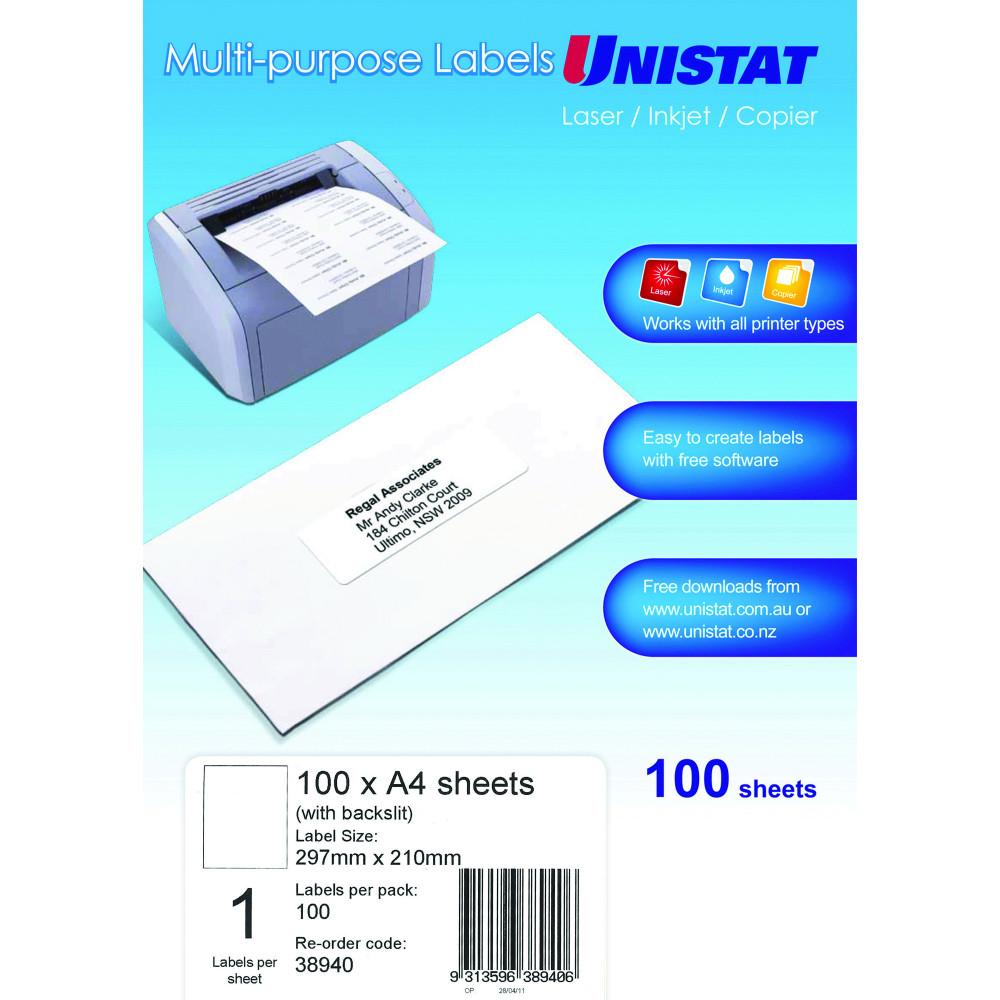 UNISTAT LASER/INKJET LABELS Copier 1/Sht 297x210(Blk Slit)