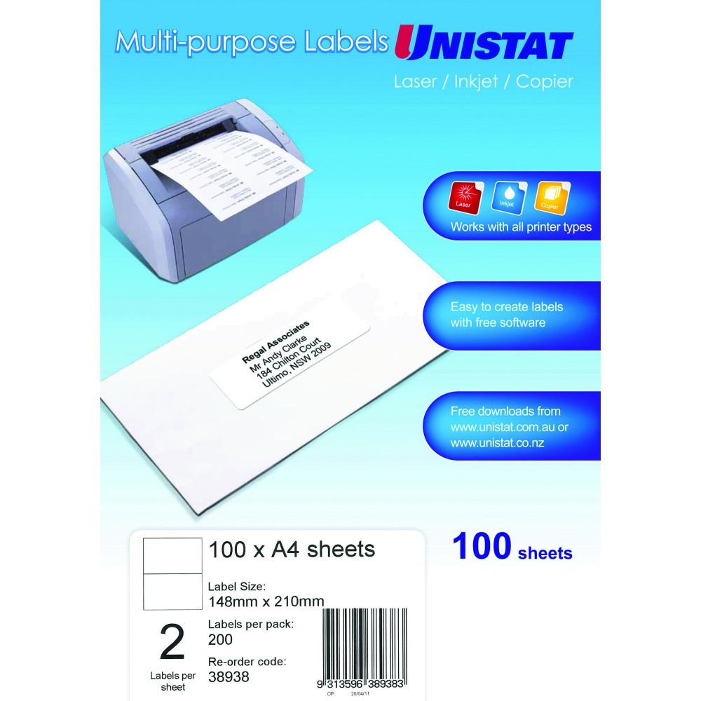 UNISTAT LASER/INKJET LABELS Copier 2/Sht 148x210mm