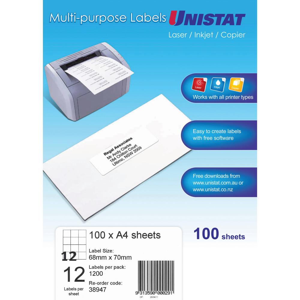 UNISTAT LASER/INKJET LABELS 12/Sht 68x700mm White
