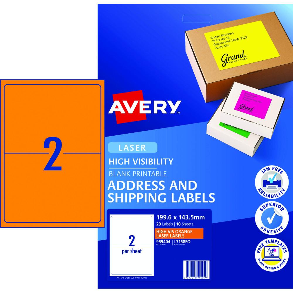 AVERY L7168FO LASER LABELS 2/Sht 199.6x43.5mm Fluoro Orange Pack of 10
