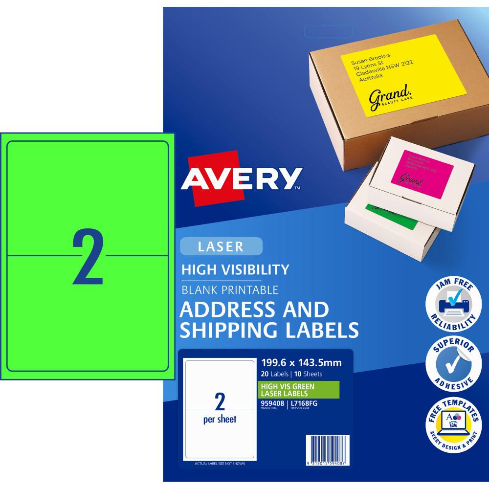 AVERY L7168FG LASER LABELS 2 /Sht 199.6x43.5mm Fluoro Green