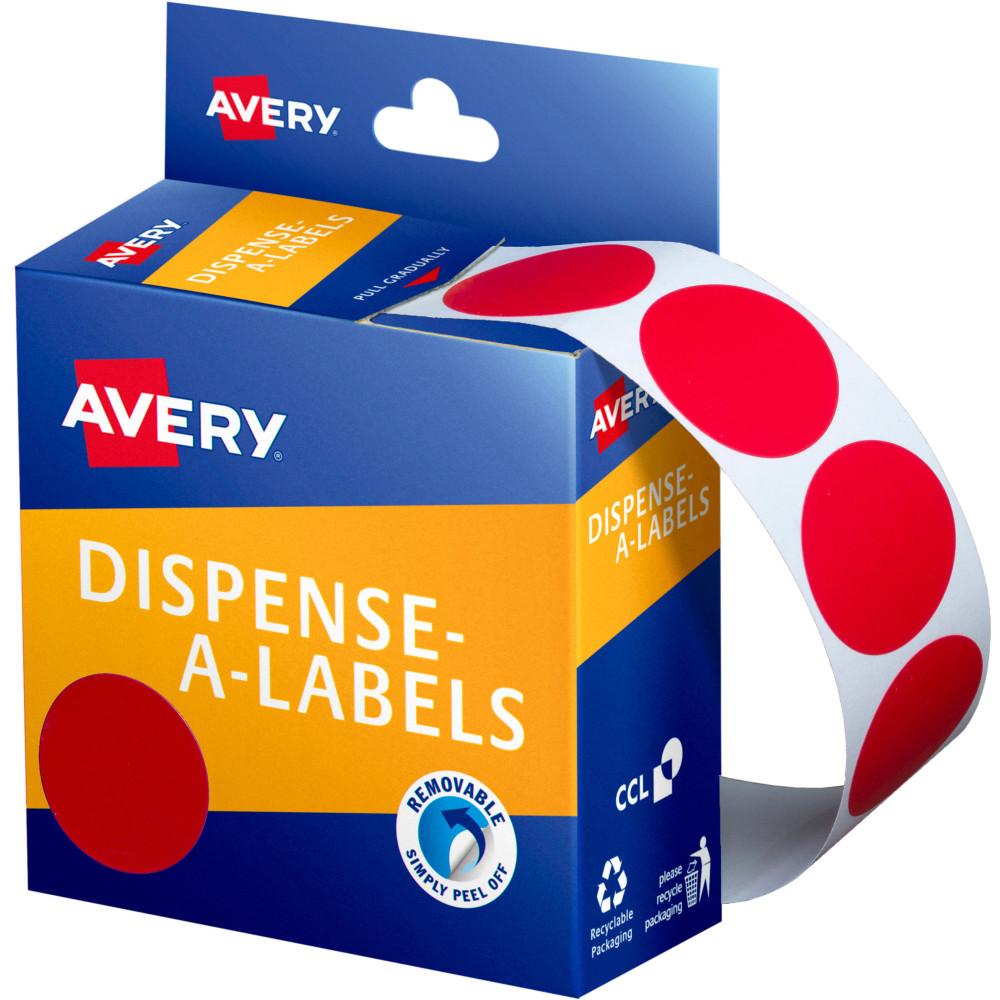 AVERY DMC24R DISPENSER LABEL Circle 24mm Red