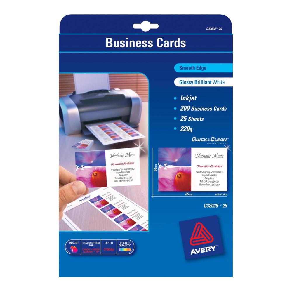 AVERY C32028-25 BUSINESS CARDS I/Jet Dbl Sided 8/Sht Glos Wht