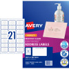 Avery Inkjet Frosted Clear Label 21UP 63.5x38.1mm Pack of 10