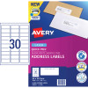 AVERY L7158 MAILING LABELS Laser 30/Sht 64x26.7mm Address