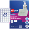 AVERY L7551 MAILING LABELS Laser 65/Sht 38.1x21.2mm Clr