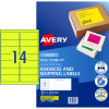 AVERY L7163FY LASER LABELS 14/Sht 99.1x38.1mm Fluoro Yell Yellow