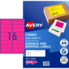 AVERY L7162FP LASER LABELS 16/Sht 99.1x34mm Fluoro Pink