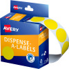 Avery Removable Dispenser Labels 24mm Round Yellow Pack of 500