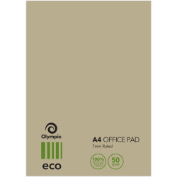 TUDOR ECO OFFICE PADS A4 50Leaf 7mm Ruled 100%Rcycld