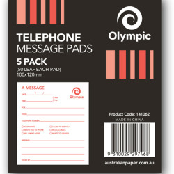 OLYMPIC TELEPHONE MESSAGE PADS 100x120m 50 leaf