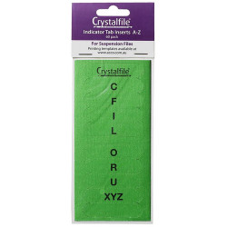 CRYSTALFILE TAB INSERTS A-Z Green
