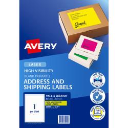 AVERY L7167FY LASER LABELS 1/Sht 199.6x289mm Fluoro Yello Yellow