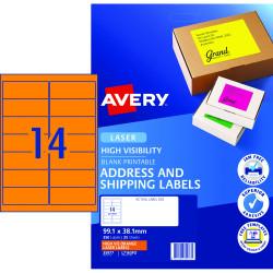 AVERY L7163FO LASER LABELS 14/Sht 99.1x38.1mm Fluoro Orng Orange
