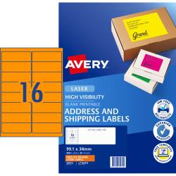 AVERY L7162FO LASER LABELS 16/Sht 99.1x34mm Fluoro Orange