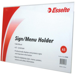 ESSELTE SIGN/MENU HOLDER A3 Landscape Wall Mount