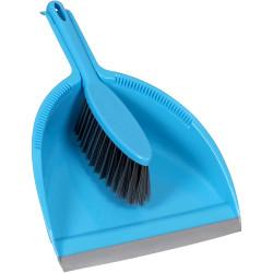 CLEANLINK BROOMS & BRUSHES Dust Pan & Brush Set Blue