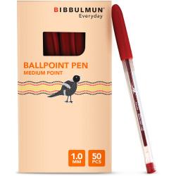 BIBBULMUN BALLPOINT PEN MEDIUM Red Pack of 50