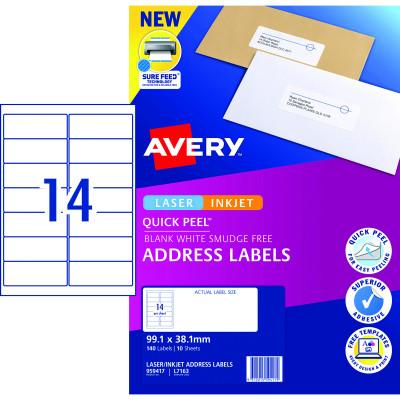 Avery Quick Peel Address Laser & Inkjet Label L7651 38.1 x 21 White 140 Labels, 10 Sheets