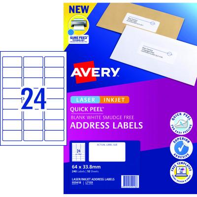 Avery Quick Peel Address Laser & Inkjet Labels L7159 64x33.8 White 240 Labels, 10 Sheets