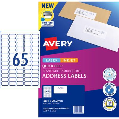 Avery Quick Peel Address Laser & Inkjet Label L7163 99.1 x 38 White 650 Labels, 10 Sheets
