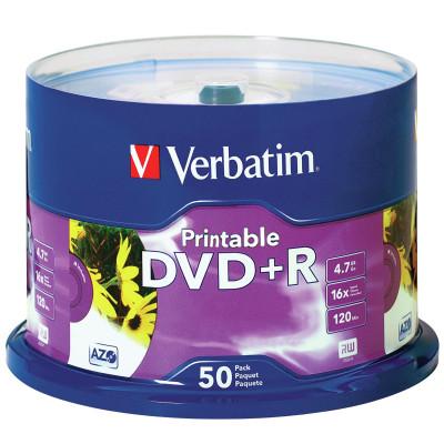 Verbatim Recordable DVD+R 120Min 4.7GB 16X Printable Inkjet Pack of 50 White