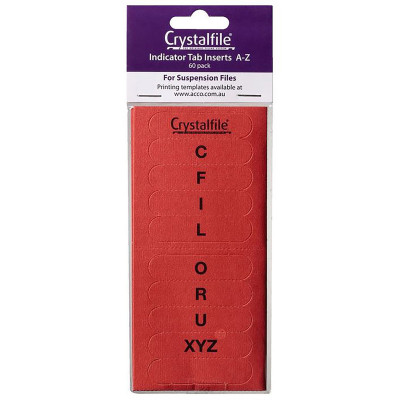 CRYSTALFILE TAB INSERTS A-Z Red