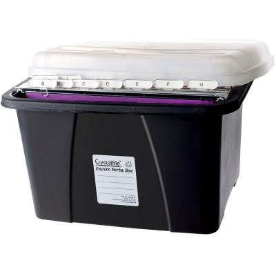 CRYSTALFILE ENVIRO PORTA BOX With 10 Files L490xW400xH285mm Black