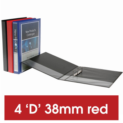 Marbig Clearview Insert Binder A4 4D Ring 38mm Red