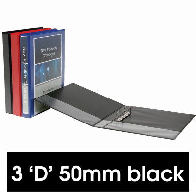 Marbig Clearview Insert Binder A4 3D Ring 50mm Black