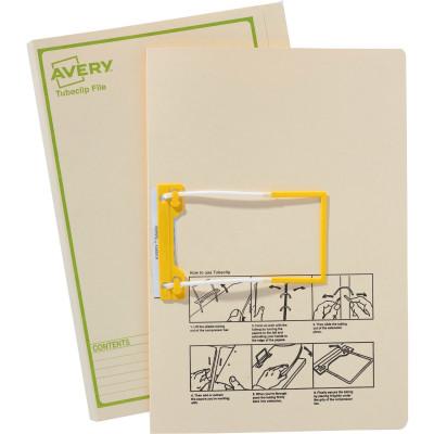 AVERY TUBECLIP FILES F/Cap Buff Printed Green