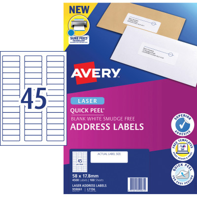 Avery Quick Peel Address Laser Labels L7156 58x17.8mm White 4500 Labels, 100 Sheets
