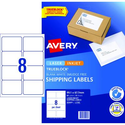 Avery Internet Shipping Laser & Inkjet Labels L7165 99.1x 67.7 White 80 Labels 10 Sheets
